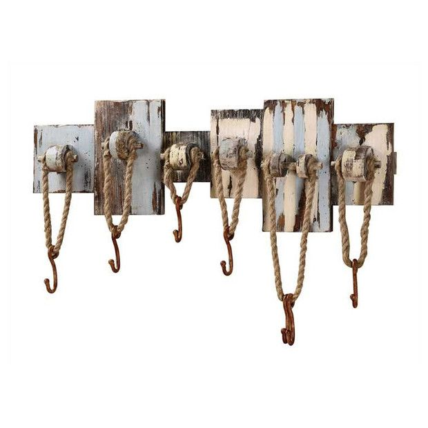 Rustic Wood Wall Decor With 7 Rope Hooks Rustic Wood Wall Decor