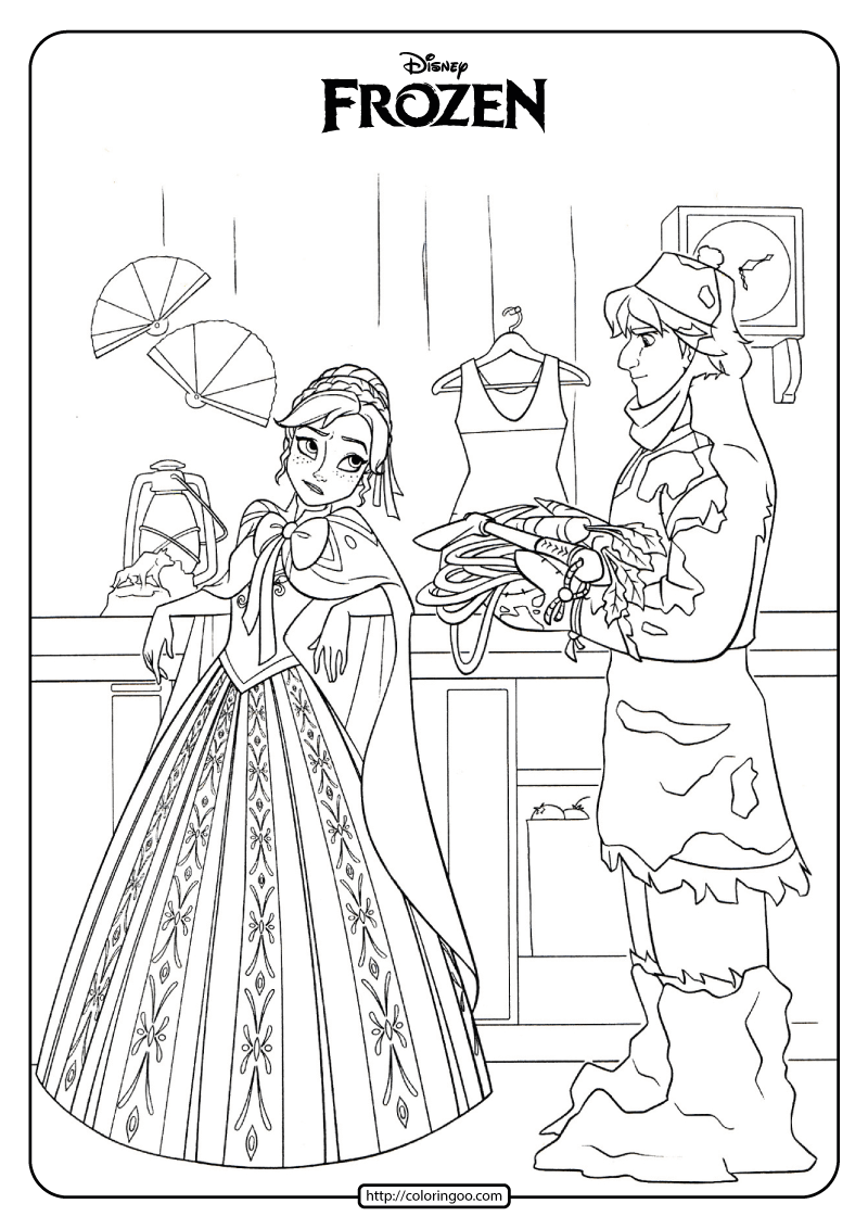 Disney Frozen Anna And Kristoff Coloring Pages 05 Disney Coloring Pages Frozen Coloring Pages Disney Princess Coloring Pages