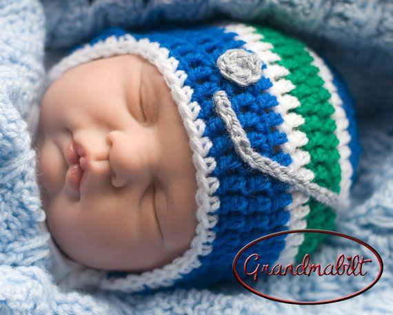 Newborn Crocheted Royal Blue, Emerald Green Hockey Helmet by Grandmabilt, $21.00
