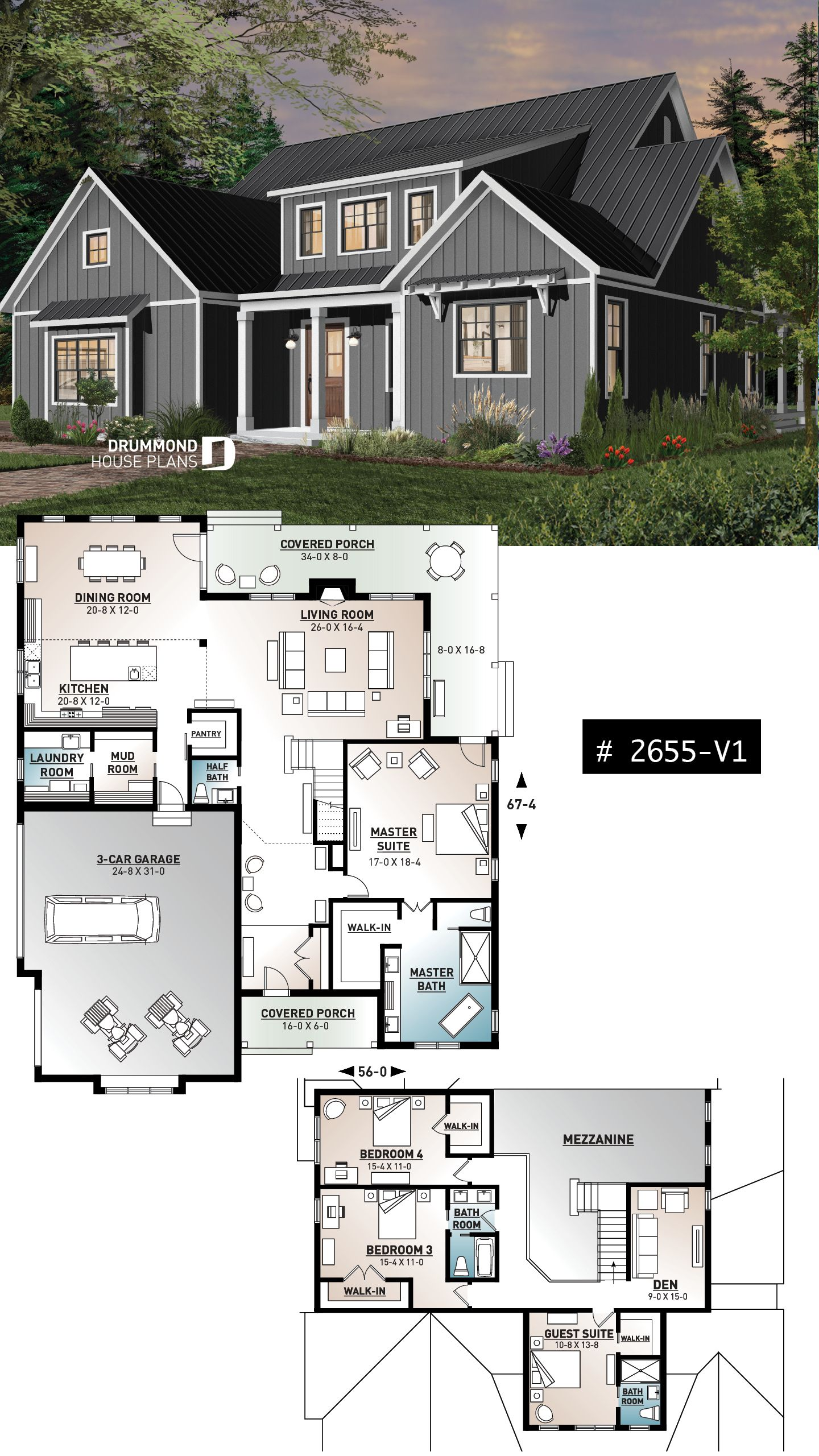 Discover The Plan 2655 V1 Greenhills 2 Which Will Please You For Its 4 Bedrooms And Farmhouse Styles New House Plans Sims Design Modern