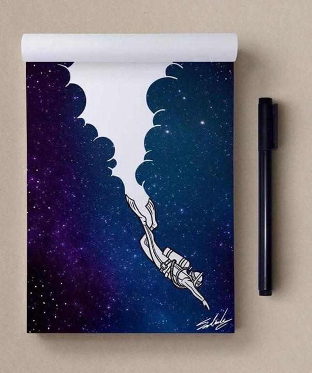 Картинки, прикольные рисунки в скетчбук космос