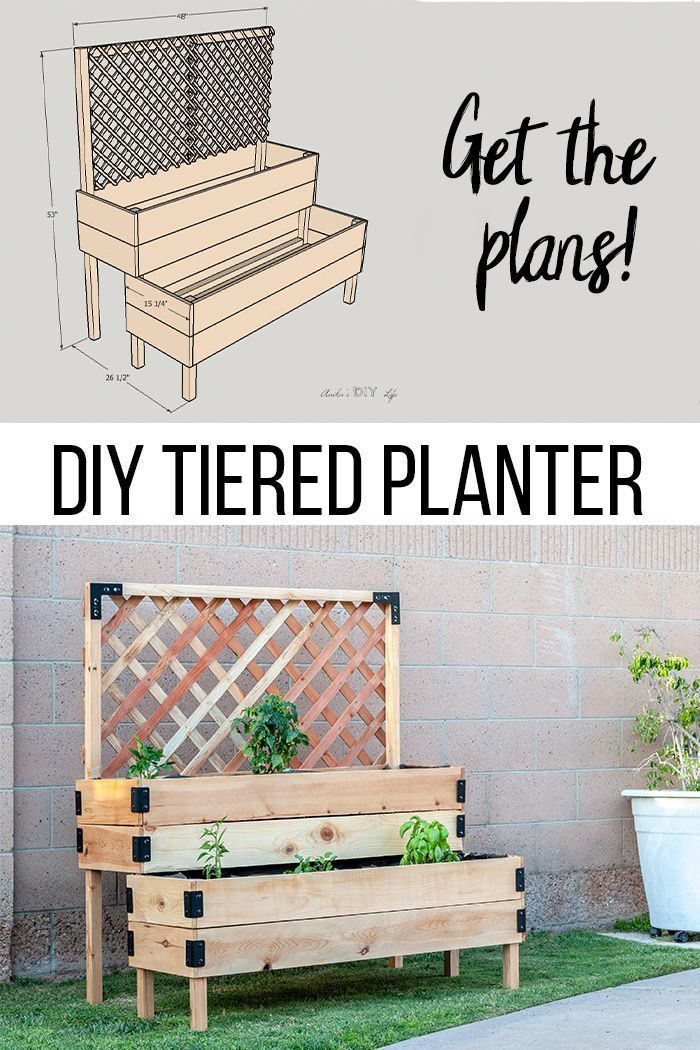 DIY Tiered Raised Garden Bed Full Tutorial and Plans  Planters  Ideas of Planters  Love this DIY raised planter garden bed with legs and trellis So easy to make This is m...