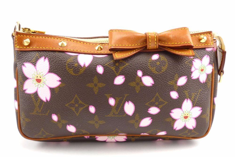 c86bdffb1f63 Louis Vuitton Authentic Cherry Blossom Monogram Canvas Pochette Clutch  AR0013