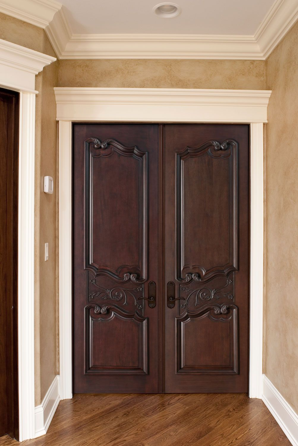 Double interior library doors interior double doors for Custom interior wood doors