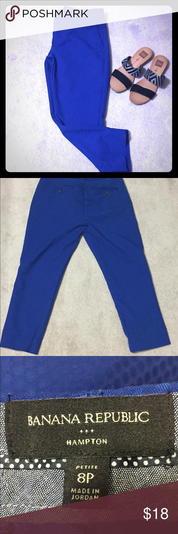 7316e950b4 Banana Republic Hampton Dress Pants Fun bright blue color, size 8 petite. I  typically wear a size 6 and am 5'4