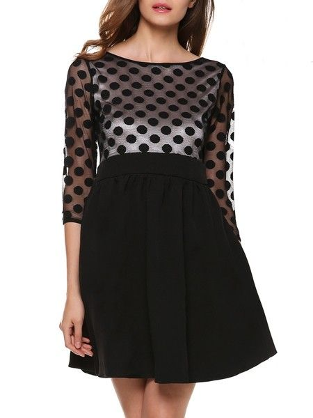 Classical Round Neck Color Block Patchwork Polka Dot Skater-dress Skater Dresses from fashionmia.com