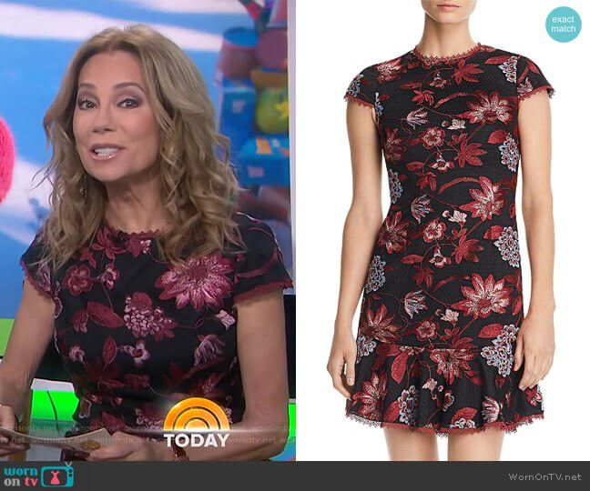 64e7c27a39a Kathie s black floral embroidered dress on Today. Outfit Details  https    wornontv
