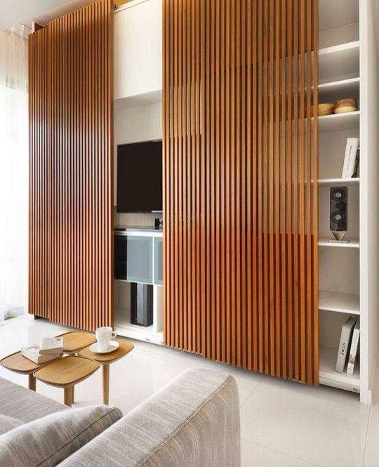 Puerta corrediza, diseño, hogar, casa, separador de ambiente, rack ...
