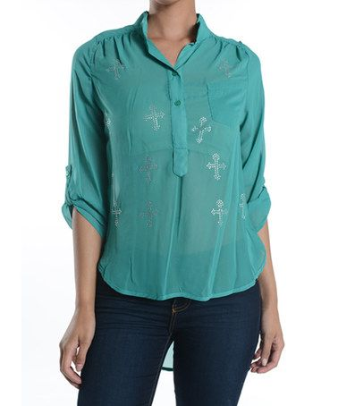 Loving this Green Embellished Maltese Hi-Low Top on #zulily! #zulilyfinds