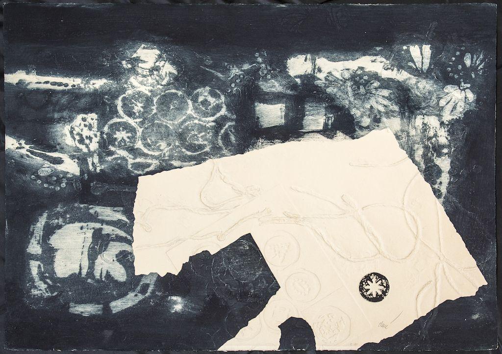 Antoni Clavé. Signes e fuelles. 1970 Grabado al carborundo con relieve. E/A 56 x 76 cm.