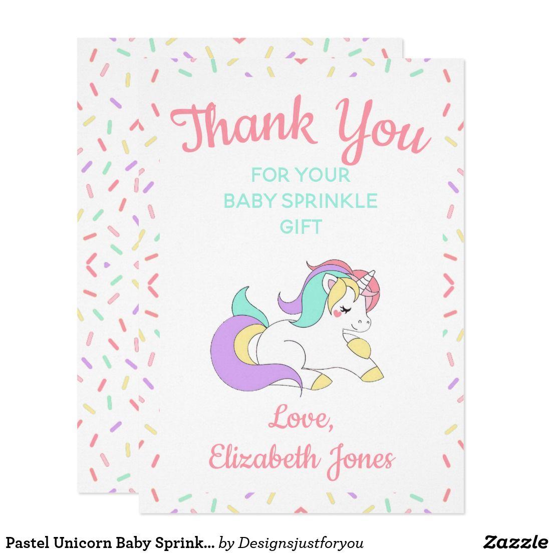 pastel unicorn baby sprinkle thank you card  zazzle