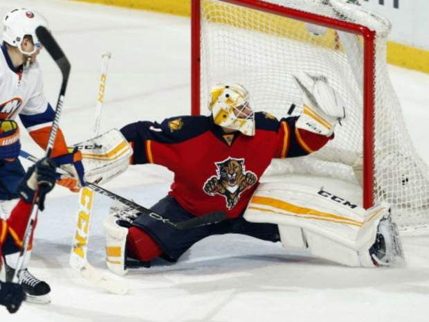 Roberto Luongo Of The Florida Panthers Has This Shot From Alan Quine