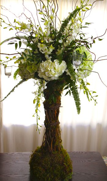 hydrangea and curly willow centerpieces