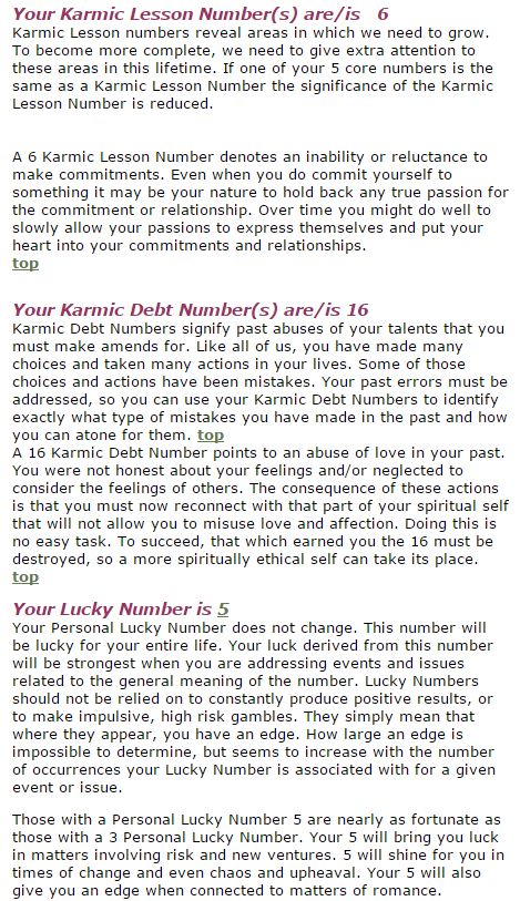 My Karmic Lesson, Karmic Debt and Lucky numbers (visit the