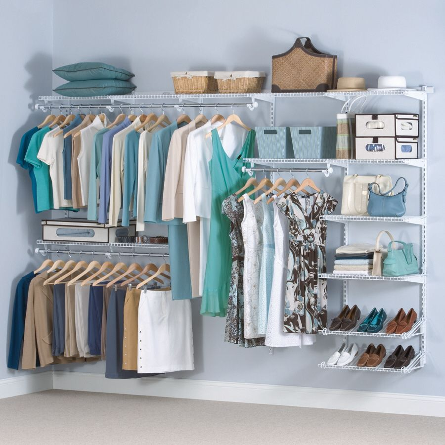 $178 At Lowes, Shop Rubbermaid 6u0027 To 10u0027 White Wire Closet Organizer At  Lowes.com