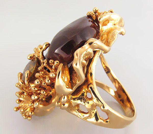 Кольцо с мексиканским огненным агатом и великолепным золотистым сфеном