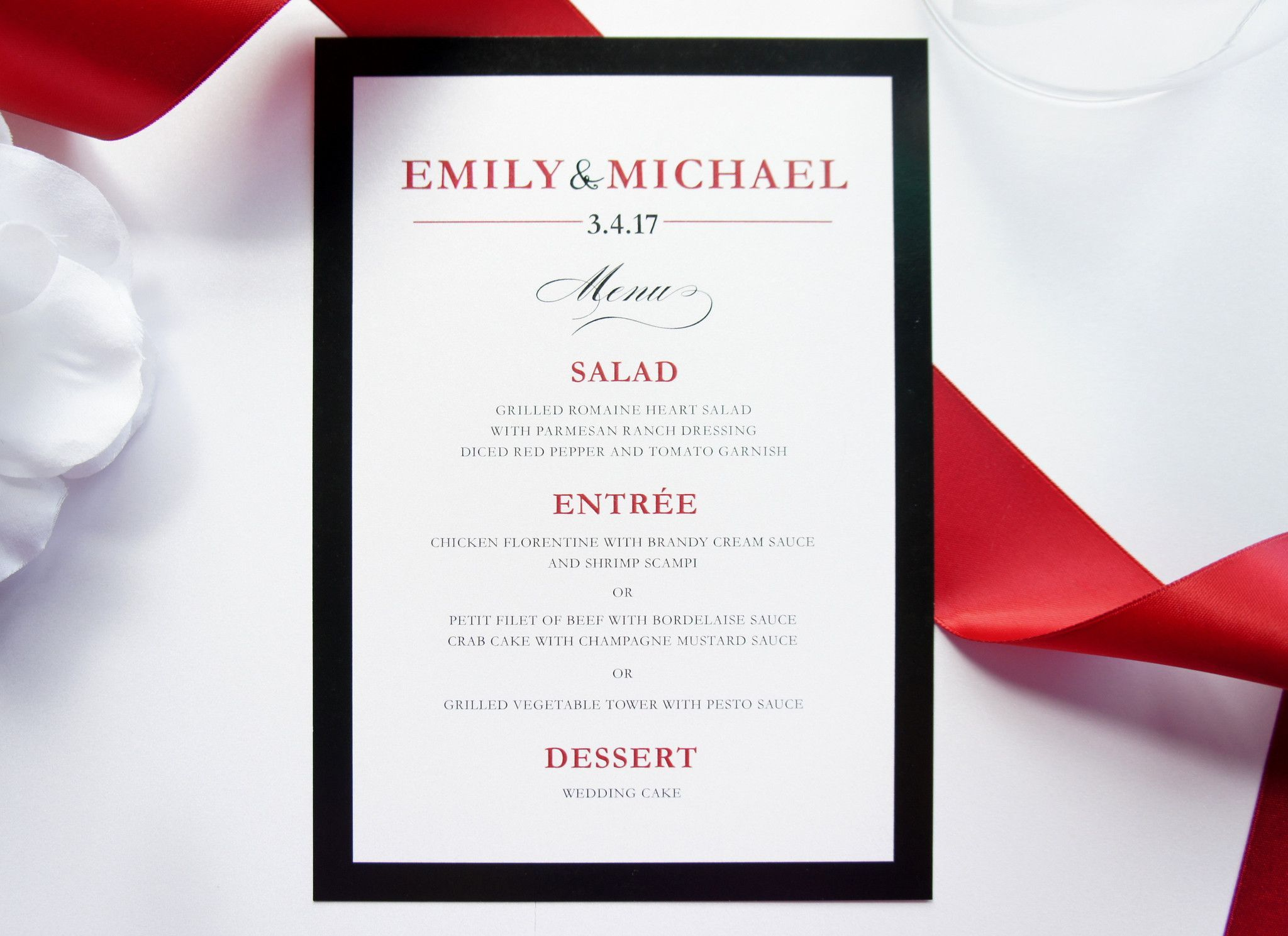 Red and black menu cards deposit red wedding invitations made to match our modern red wedding invitation set paper colors and fonts can stopboris