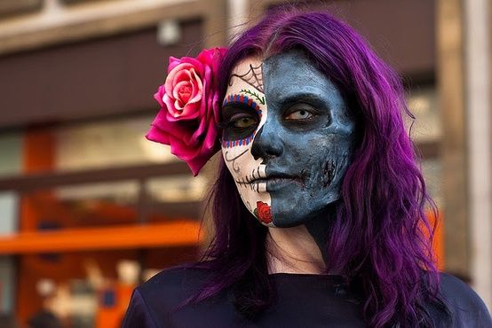 """Bloody amazing old """"dia de muertos""""/""""day of the dead"""" make-up and gorgeous violet hair."""