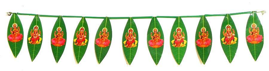Plastic Mango Leaves Door Toran With Lakshmi Ganesh Picture