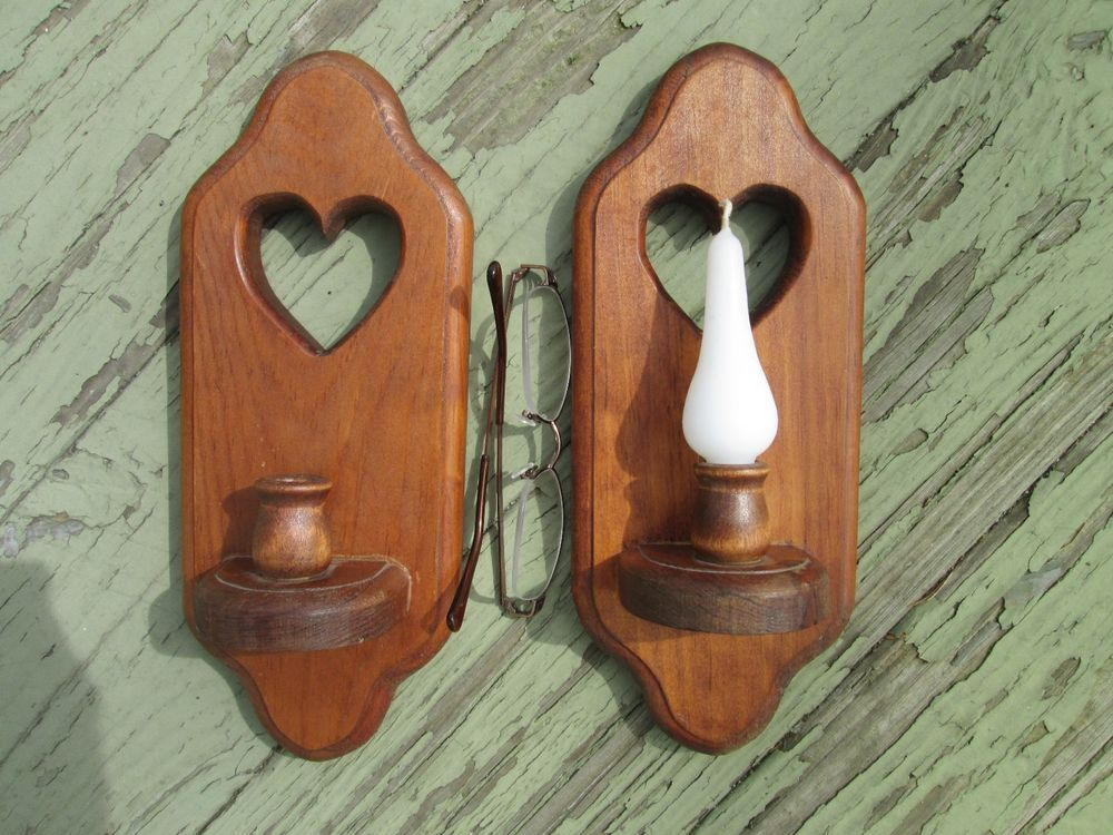 Details about SET OF 2 HEART DECOR RED Wood WOODEN Candle ... on Vintage Wall Sconce Candle Holder Decorating Ideas id=76377