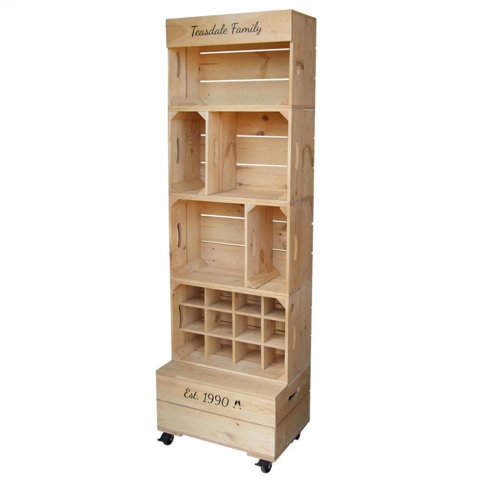 Large Four Crate Shelving Unit Crate Shelves Wooden Display Stand Wooden Crate Shelves