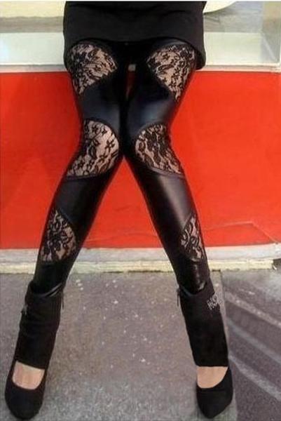 Fashion Leggings Legging Black Lace Wet Look Punk Gothic Clubwear #Unbranded