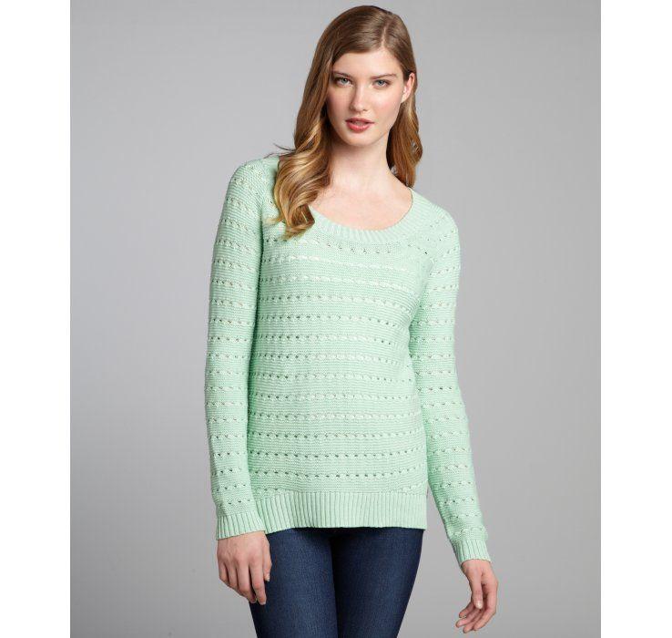 BCBGeneration seafoam cotton-blend knit high-low sweater