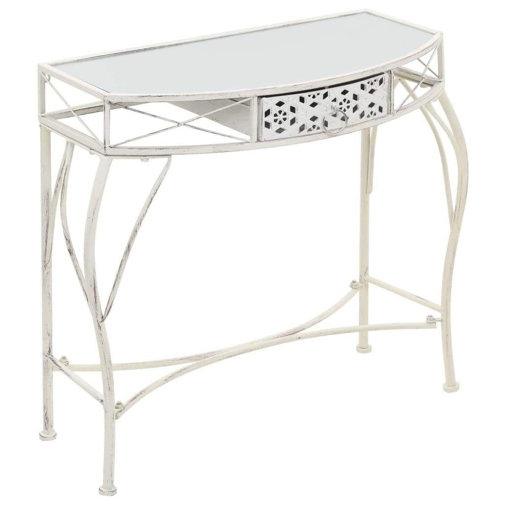 Table D Appoint Style Francais Metal 82 X 39 X 76 Cm Blanc Side Table With Storage Metal Side Table Side Table