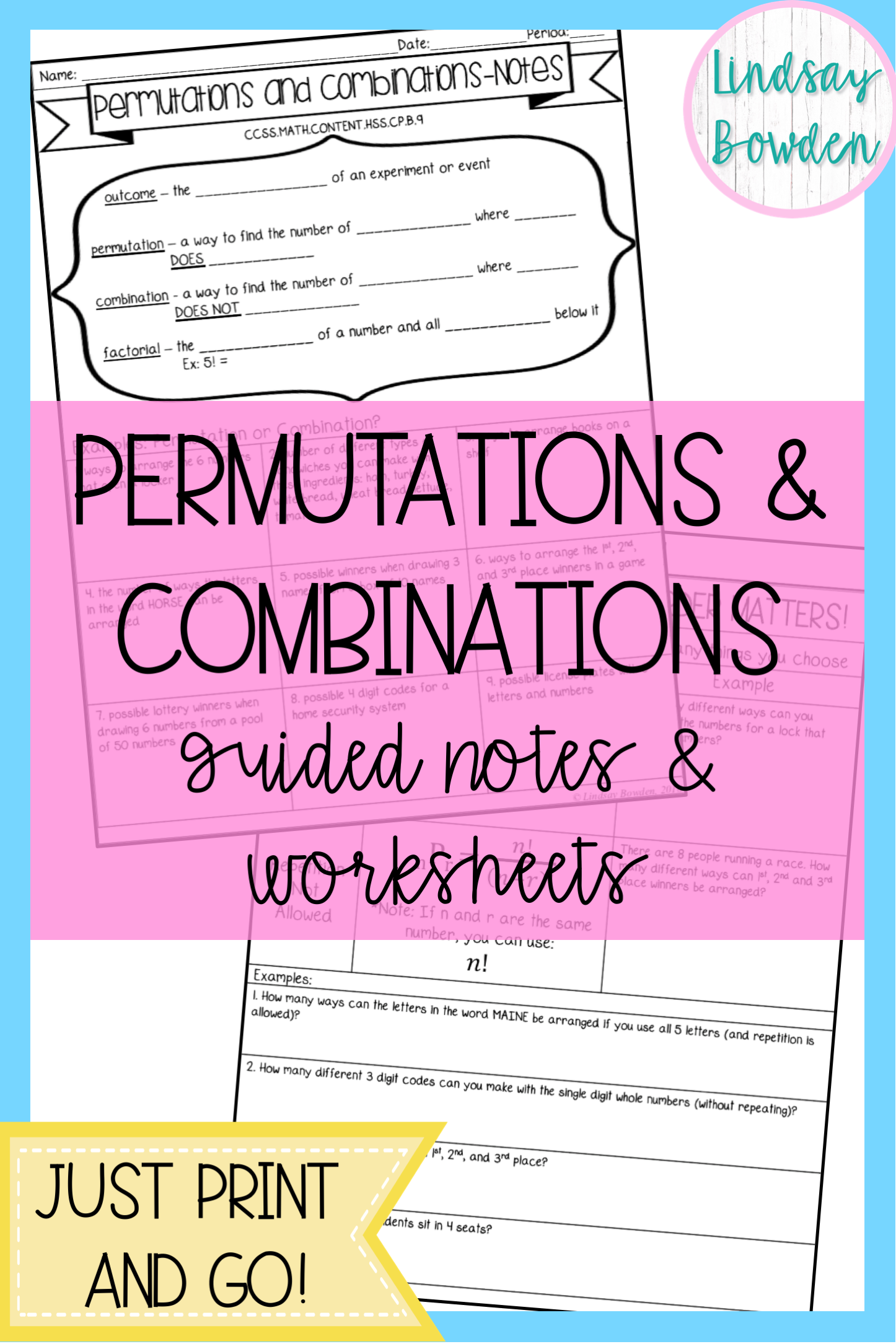 Permutations And Combinations Notes And Worksheets For