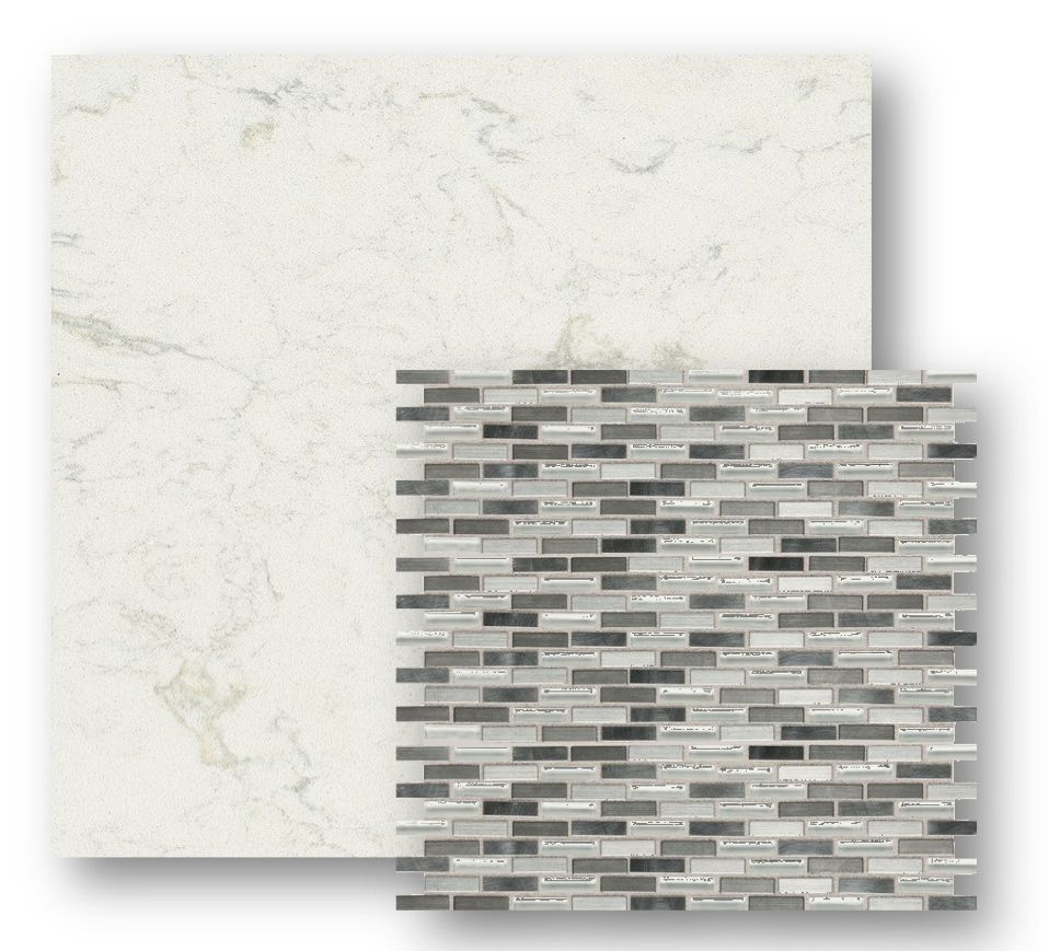 Cambria quartz countertop glass mosaic tile back splash for Mosaic tile bar top