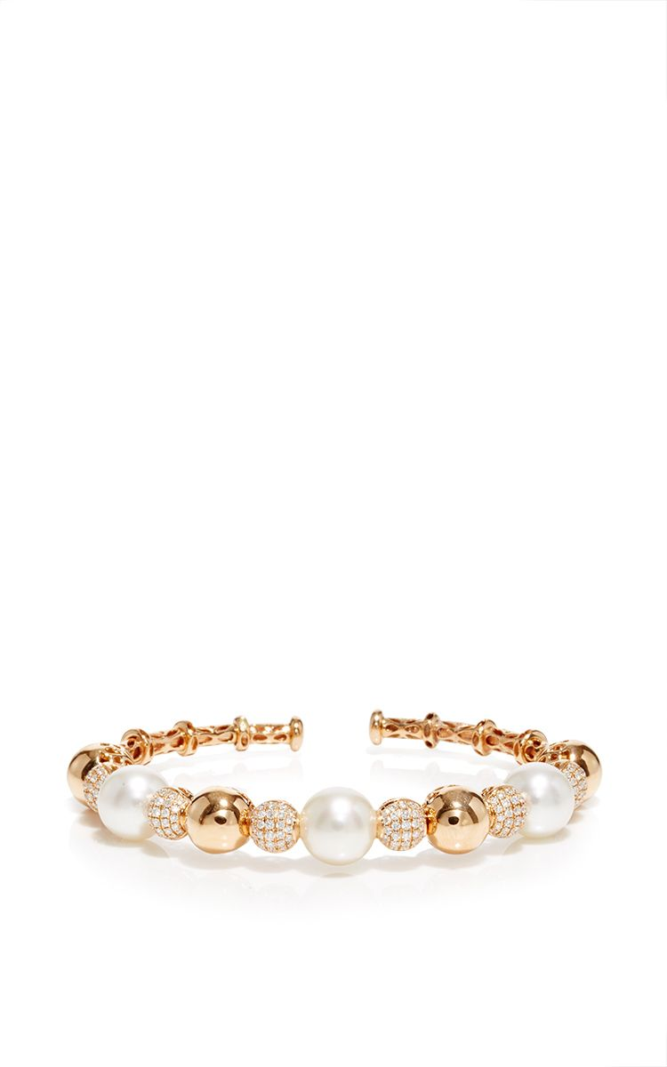 k rose gold cultured pearl diamond bangle by yoko london for