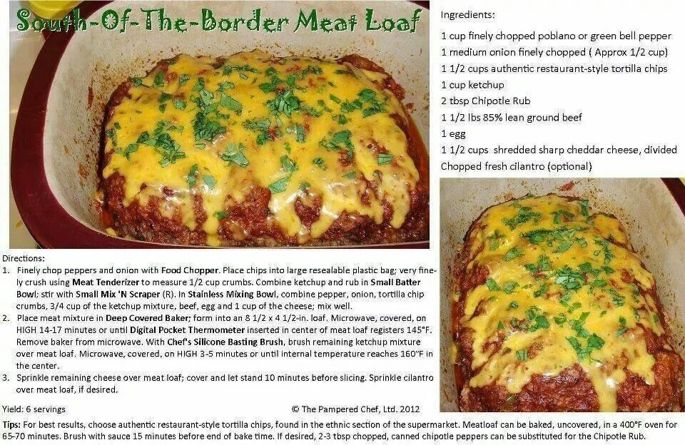 South Of The Border Meatloaf Recipe In The Deep Covered Baker Hamburger Side Dishes Gluten Free Recipes For Dinner Crock Meals
