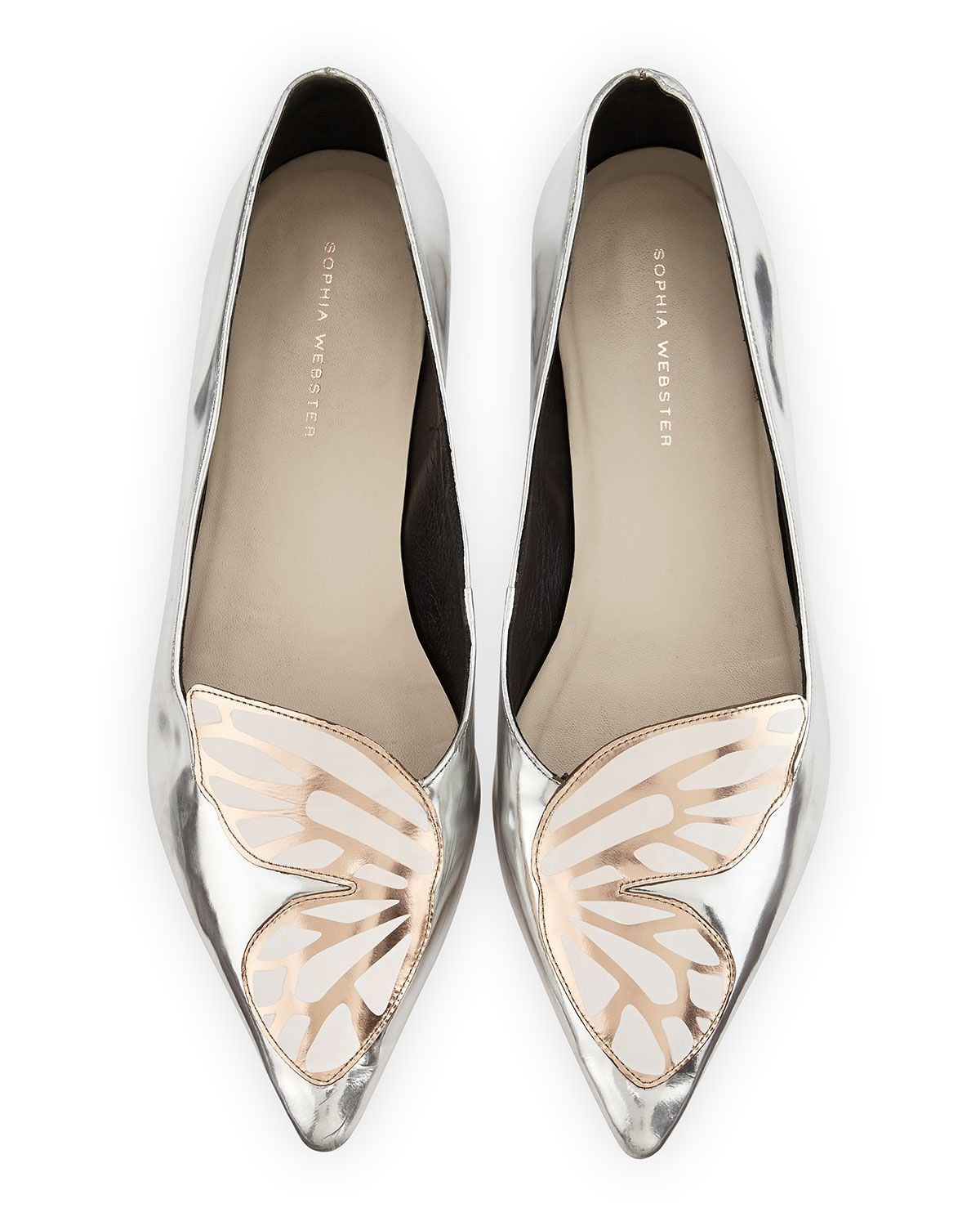 SOPHIA WEBSTER Silver Bibi embroidered leather ballerina flats Sortie À Vendre yPBboUqjo3