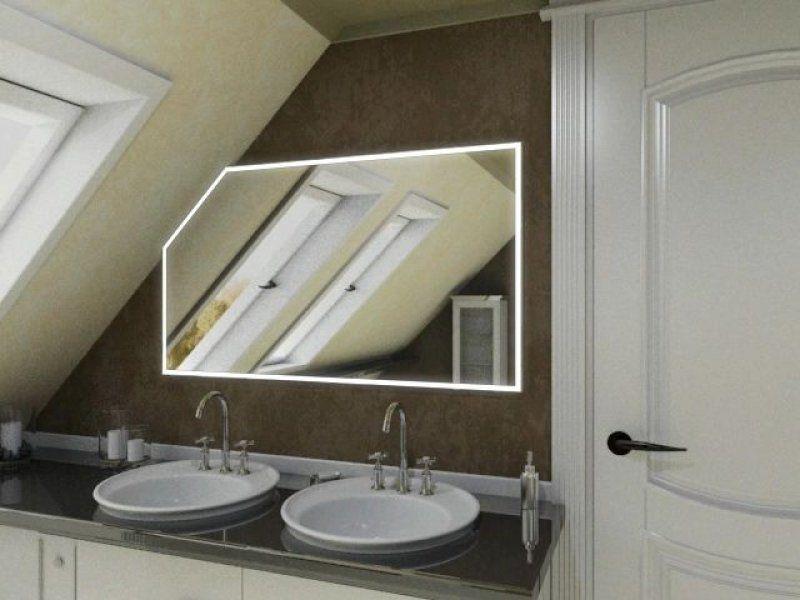 Badspiegel mit Beleuchtung und Schräge   Modell NAMEK von Spiegel21 - spiegel badezimmer mit beleuchtung