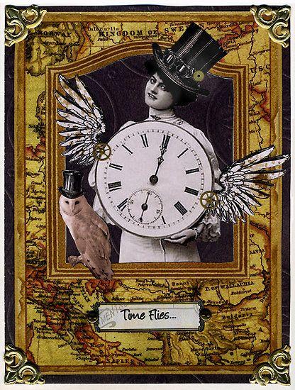 Pin By Kw Blanton On Clocks Steampunk Cards Vintage Cards Steampunk