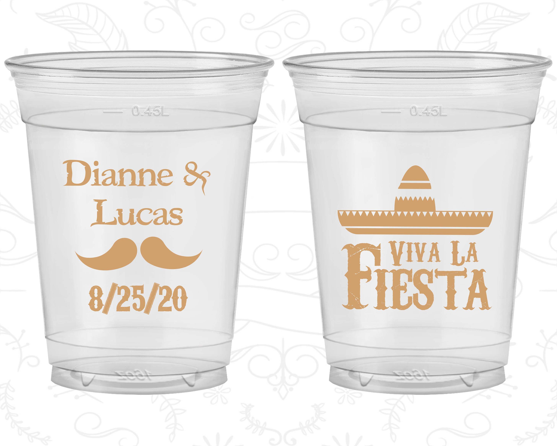 Viva La Fiesta Wedding Favor Clear Cups Mexican Mexico Party