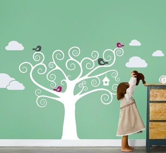Swirly Tree With Cute Birds Decal