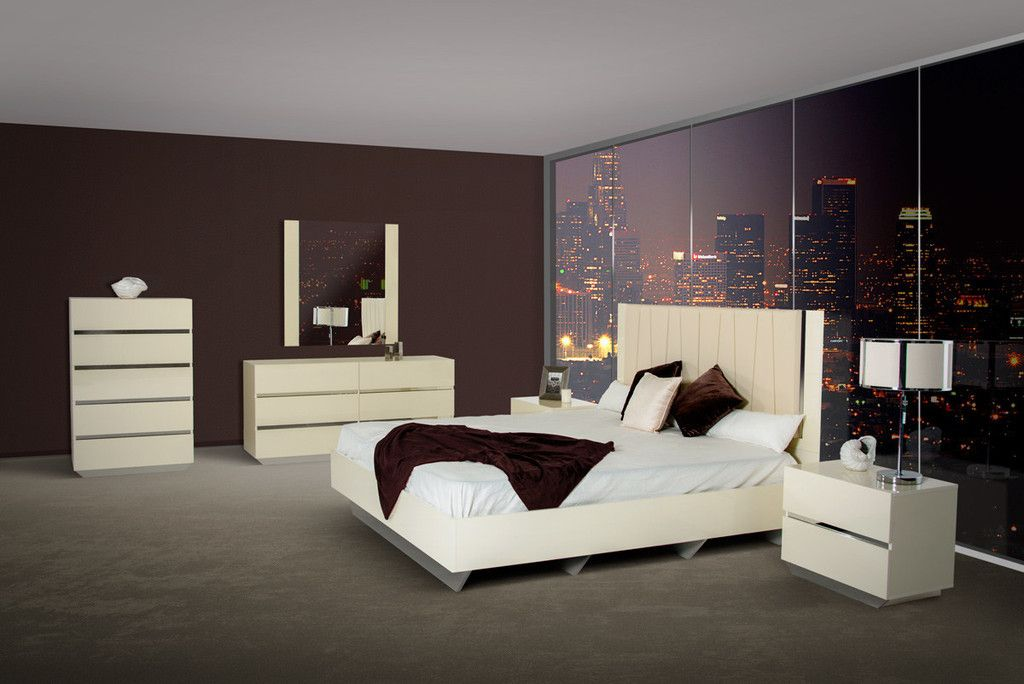 Luxor Modern Beige Lacquer Italian Bedroom Set Bedroom Sets - Italian Bedroom Sets