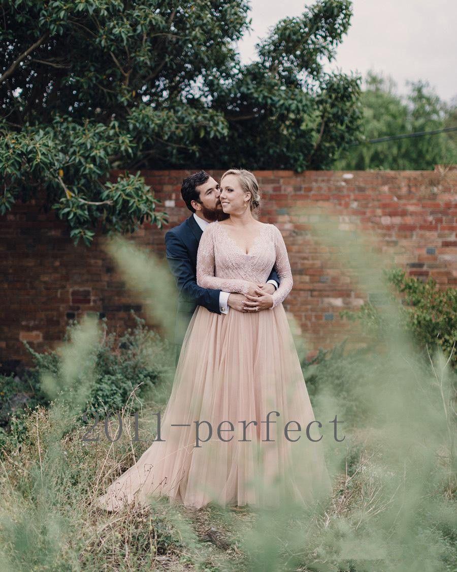 Nice amazing plus size blush country wedding dress long sleeve