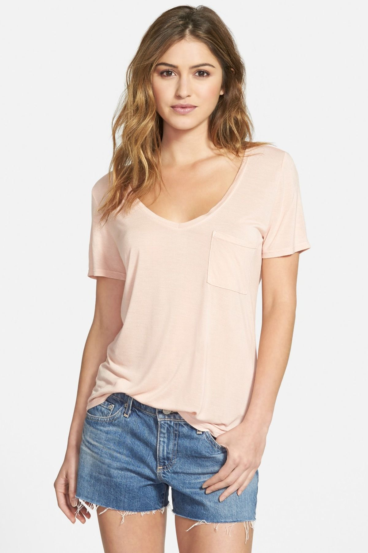 'Lynnea' Raw Edge V-Neck Tee by Paige Premium Denim on @nordstrom_rack