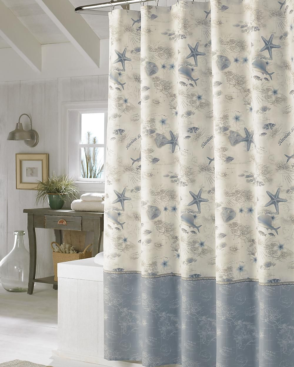 Hawaiian Islands Shower Curtain Ocean Shower Curtain Curtains