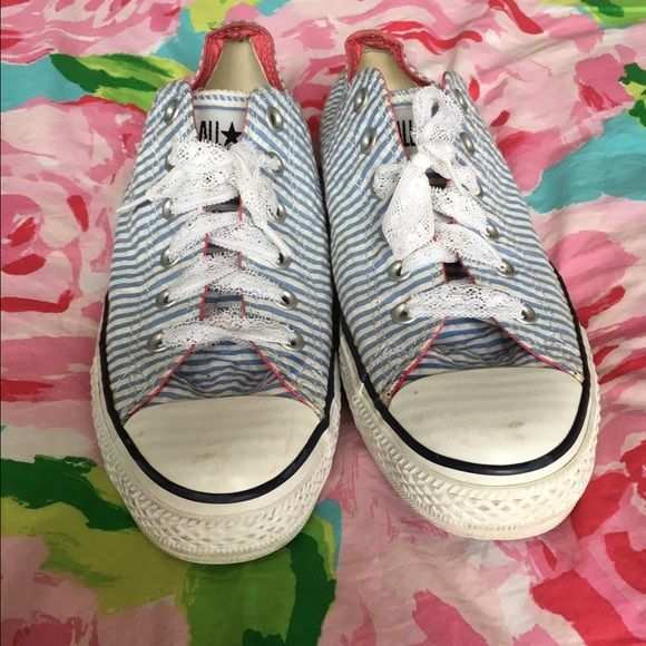 72be86bf585e Converse Light Blue Seersucker Style Sneakers