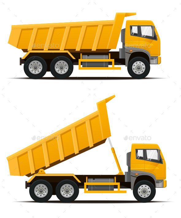 Dump Truck By Dickcraft High Detailed Vector Illustration Of The Yellow Dump Truck Dumper Truck Tipper Truck Dump Truck