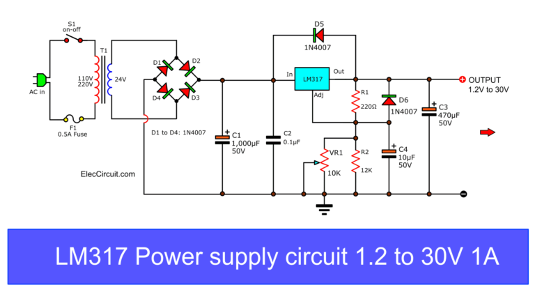 My First Variable Power Supply Using Lm317 Eleccircuit Power Supply Circuit Electronic Circuit Projects Electrical Circuit Diagram