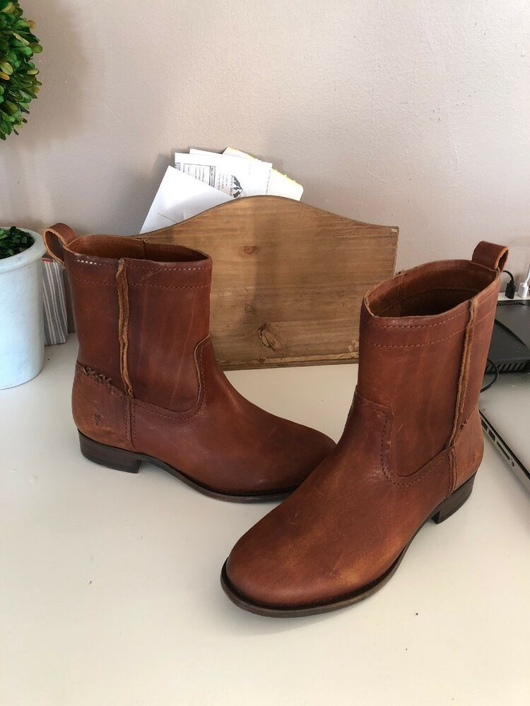 3e27a10045c Frye Cara Short Leather Boot Women's Size 6 MED Cognac Brown 3478323 ...