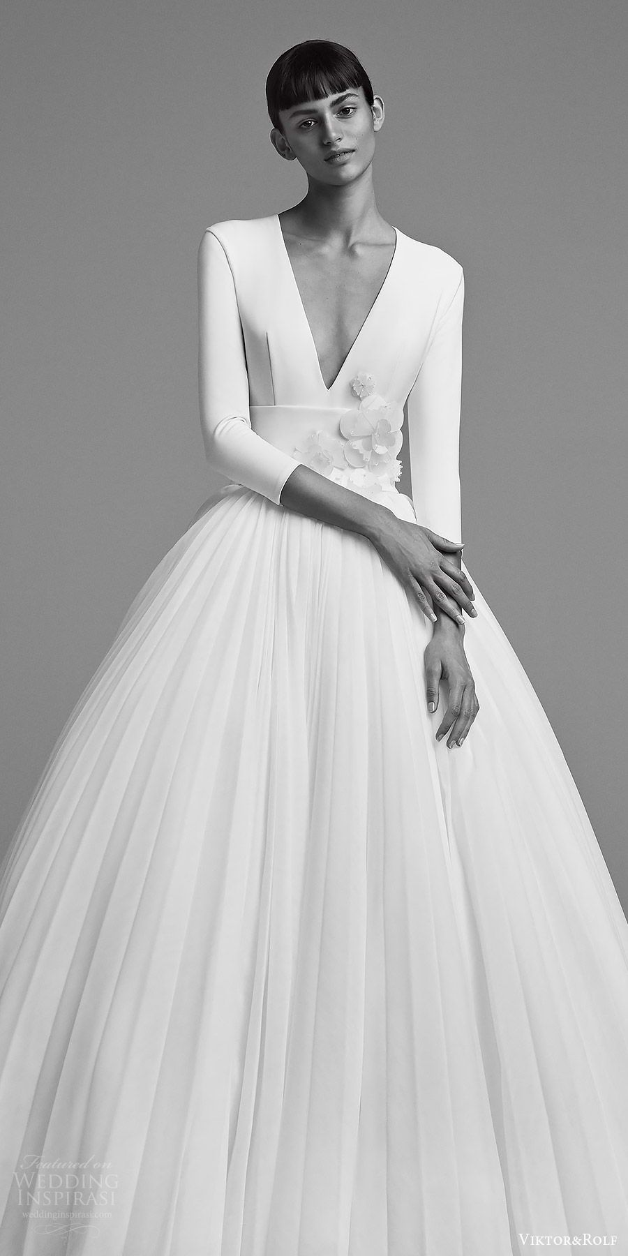 f619a75174f9 viktor and rolf fall 2018 bridal long sleeves deep v neck embellished waist  ball gown wedding dress (22) zv elegant romantic modern minimal -- Viktor