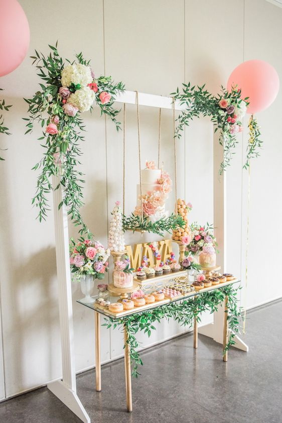A Darling Dessert Display For 1st Birthday With Gorgeous Captures By LEstelle Photography Florals Bootah Jardin Flowers And Desserts Hello