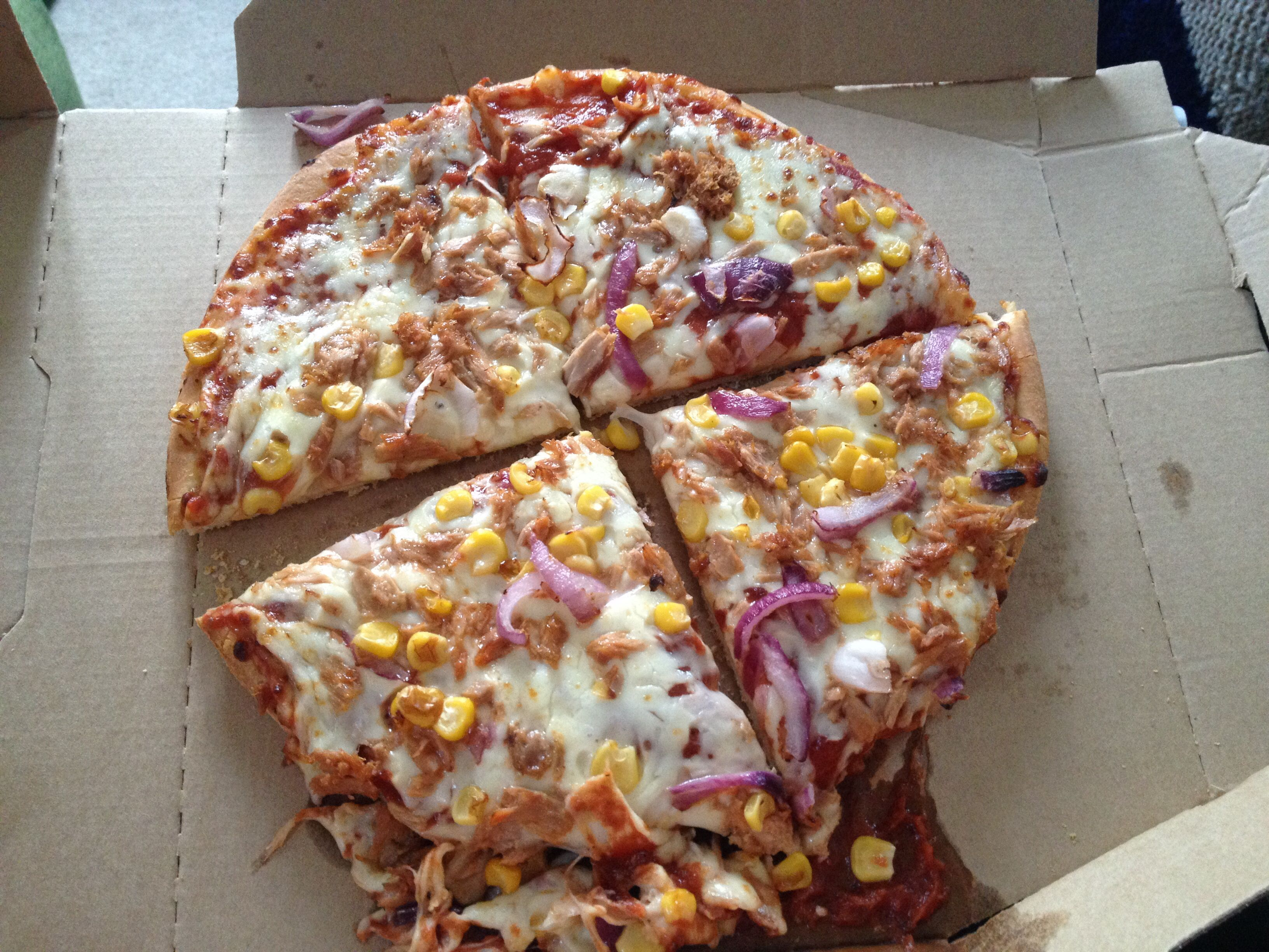 Tuna Sweetcorn Red Onion Pizza Dominos Chesterfield15 08 2014