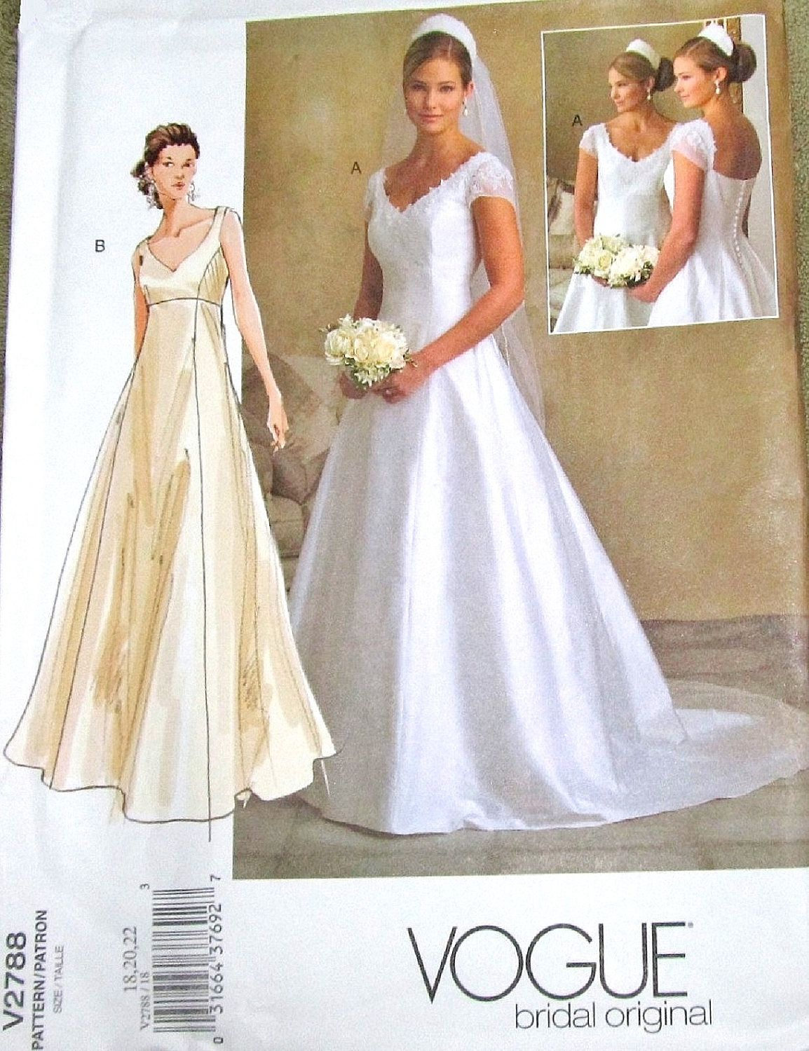 Sewing Pattern Vogue Bridal Original 2788 Wedding Gown Fitted Empire Dress Train Women Miss Size 18 20 22 Bust 40 42 44 Uncut Factory Folds By