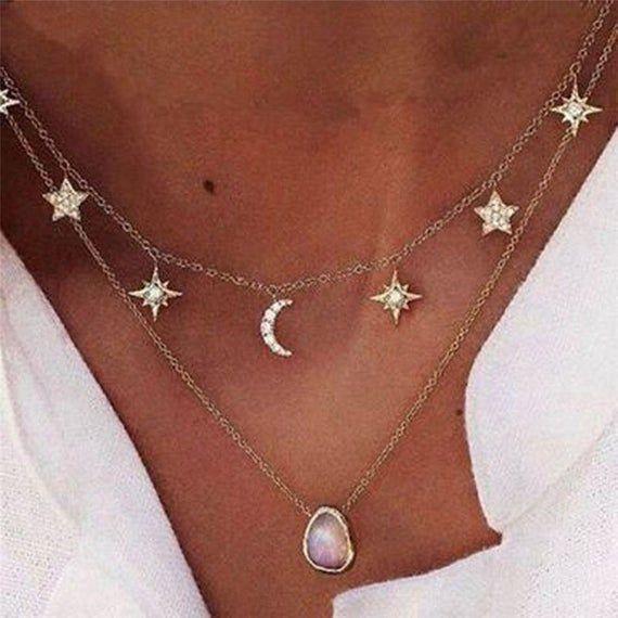 Photo of AYLIN | Goldfarbene Multilayer Halskette Collier Mond Sterne weißer Kristall Anhänger | Golden necklace collier moon stars white crystal